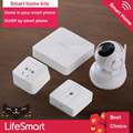 Lifesmart smart kit de atención domiciliaria, wifi wireless hd 720 p cámara ip + smart center + toma de corriente + sensor ambiental como broadlink s1c