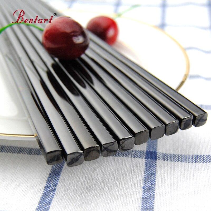 5pairs Yapon Chopsticks hashi Qara 304 Paslanmayan Polad - Mətbəx, yemək otağı və barı - Fotoqrafiya 2