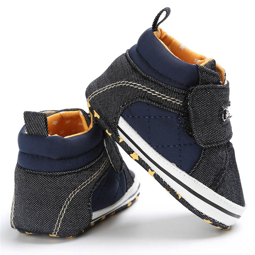 2018 Baby Toddler Boys Denim Cute Crib Shoes Anti-Slip Prewalke sport Denim fabric Boys Crib Shoes Anti-Slip Prewalker Shoes M2