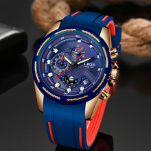 LIGE Mens Watches Top Brand Luxury Chronograph Waterproof Sport Quartz Watch Men Blue Fashion Army Wristwatch Relogio Masculino megir luxury brand men silicone sports watches 2020 fashion army watch man chronograph quartz wristwatch relogio masculino 2161