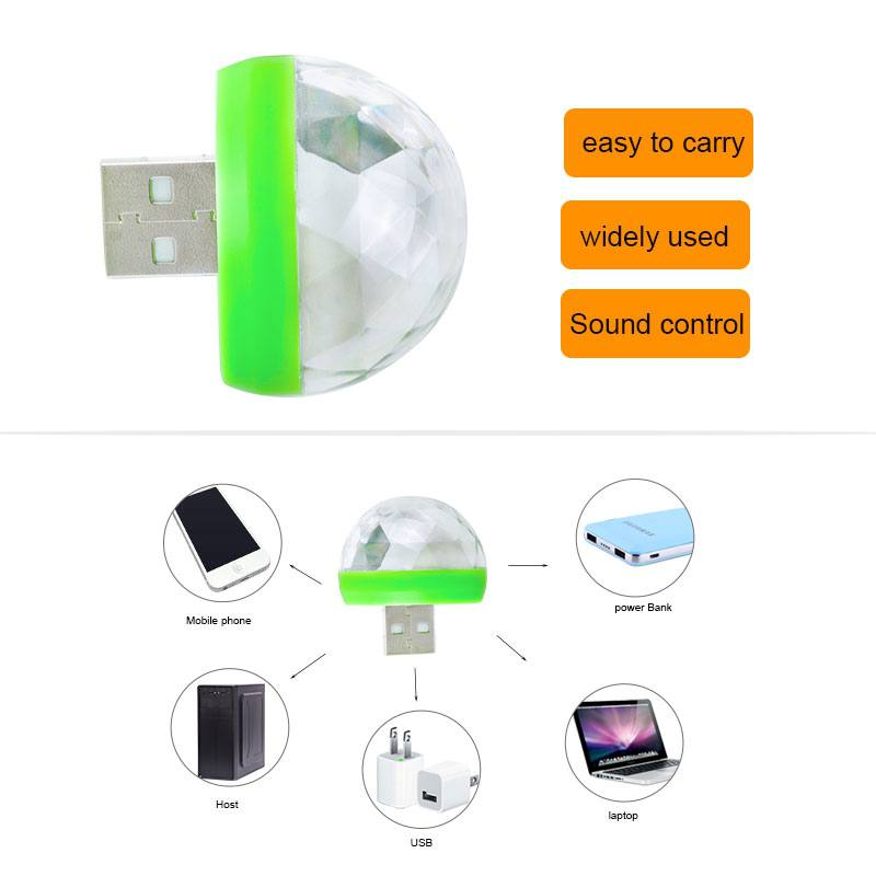 USB Gadgets USB Laser Light Mini RGB LED Ball Shape Stage Effect Convenient Light For Mobile Phone PC Power Bank For Party Club