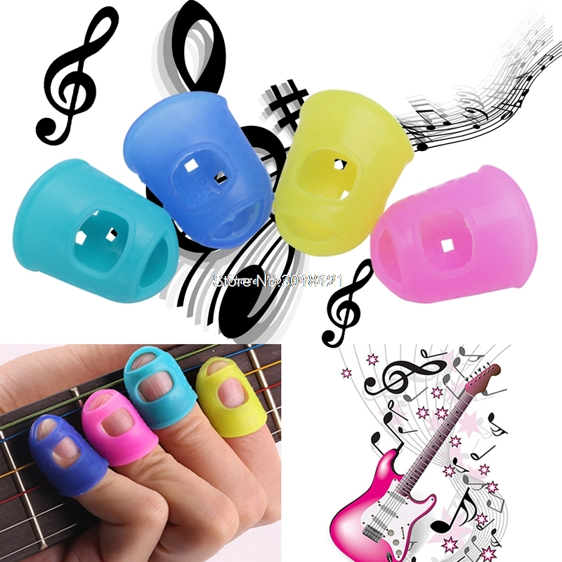 New Silicone Guitar Thumb Finger Picks Protector Plectrum Fingertip 4 Colors