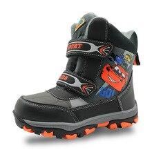 Зимние Водонепроницаемый Обувь для мальчиков Сапоги и ботинки для девочек до середины икры резиновые Детская обувь Теплый плюш из искусственной кожи Снегоступы для Обувь для мальчиков Дети ЕС 27-32