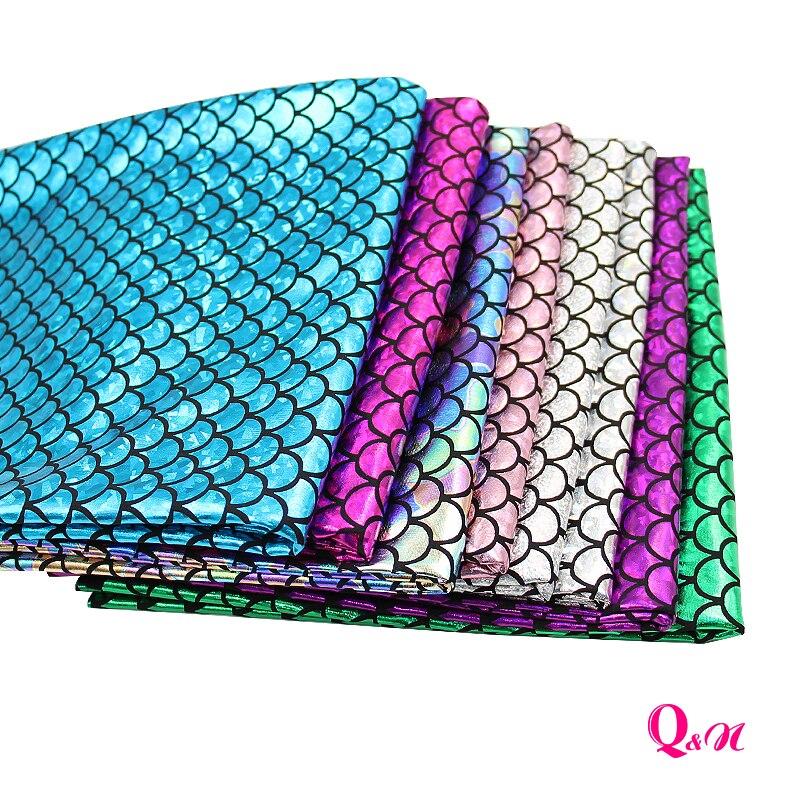 Q & N 45*145 см рыба чешуя синтетическая голограмма спандекс ткань для шитья, DIY декоративная одежда узел бант сумки