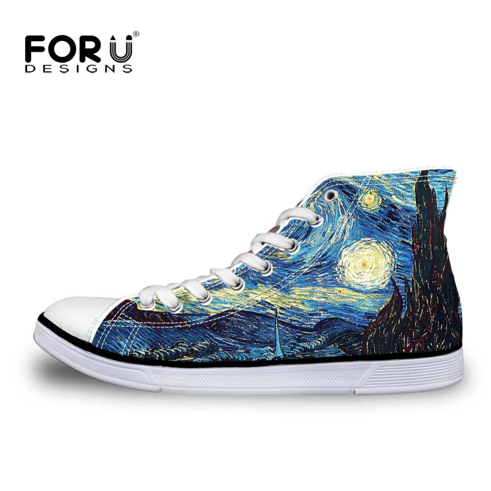 Men's Shoes Bright Forudesigns Fashion Mens High Top Vulcanize Shoes Classic Male Lace-up Canvas Shoes For Man Cool Black Punk Skull Flat Shoes Men's Vulcanize Shoes