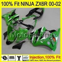 8Gifts Injection mold Body For KAWASAKI NINJA ZX 6R 00 02 INJ155 ZX 6R ZX6R 00 01 02 ZX636 2000 2001 2002 Fairing Green black
