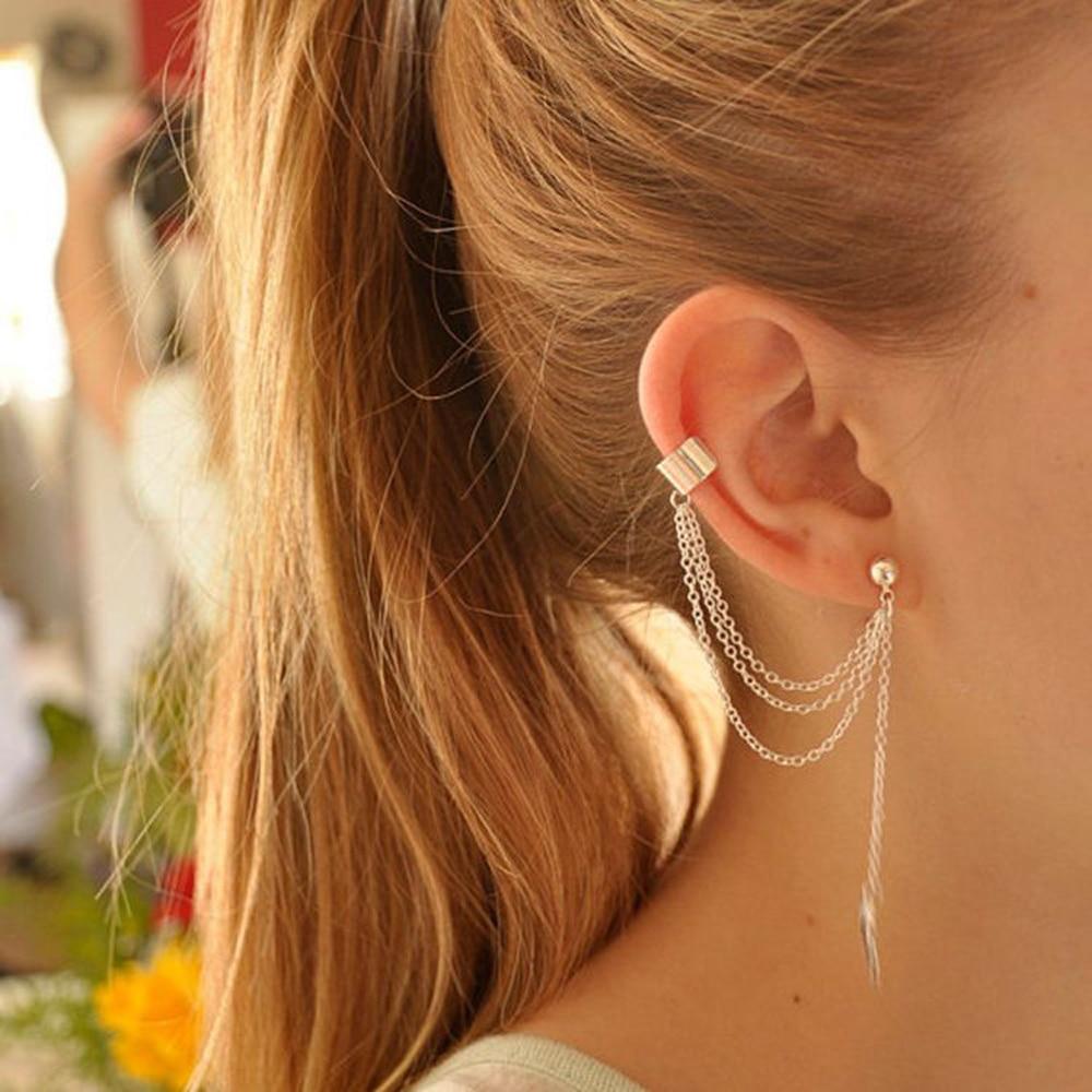 FAMSHIN New Fashion Women Girl Punk Rock Leaf Chain Tassel Dangle Cuff  Earrings Cross Charms Metallic Wrap Ear Cuff Earrings
