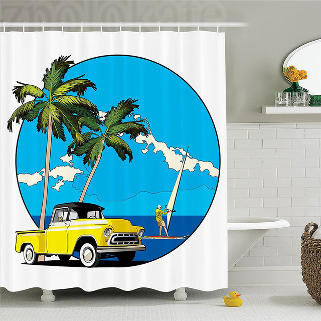 1960s Decor Shower Curtain Set Graphic Design Nostalgic Chevy Car And A Sailer Guy In The