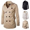 2016 nuevos hombres Trench Coat chaqueta Casual hombres gabardina abrigo de lana Slim Fit abrigo para hombre Pea Coat abajo y abrigos esquimales
