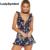 Ladysymbol colmena de la impresión floral de las mujeres de los mamelucos del mono del verano 2017 v cuello backless atractivo de la playa corta casual general playsuit girls