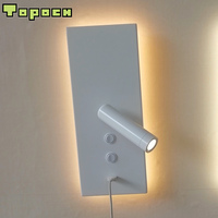 Topoch Wall Lamp USB 5V 2A Dual Rocker Switches On/Off 10W LED Backlight with 3W Reading Light Independent Working 3200K 4100K
