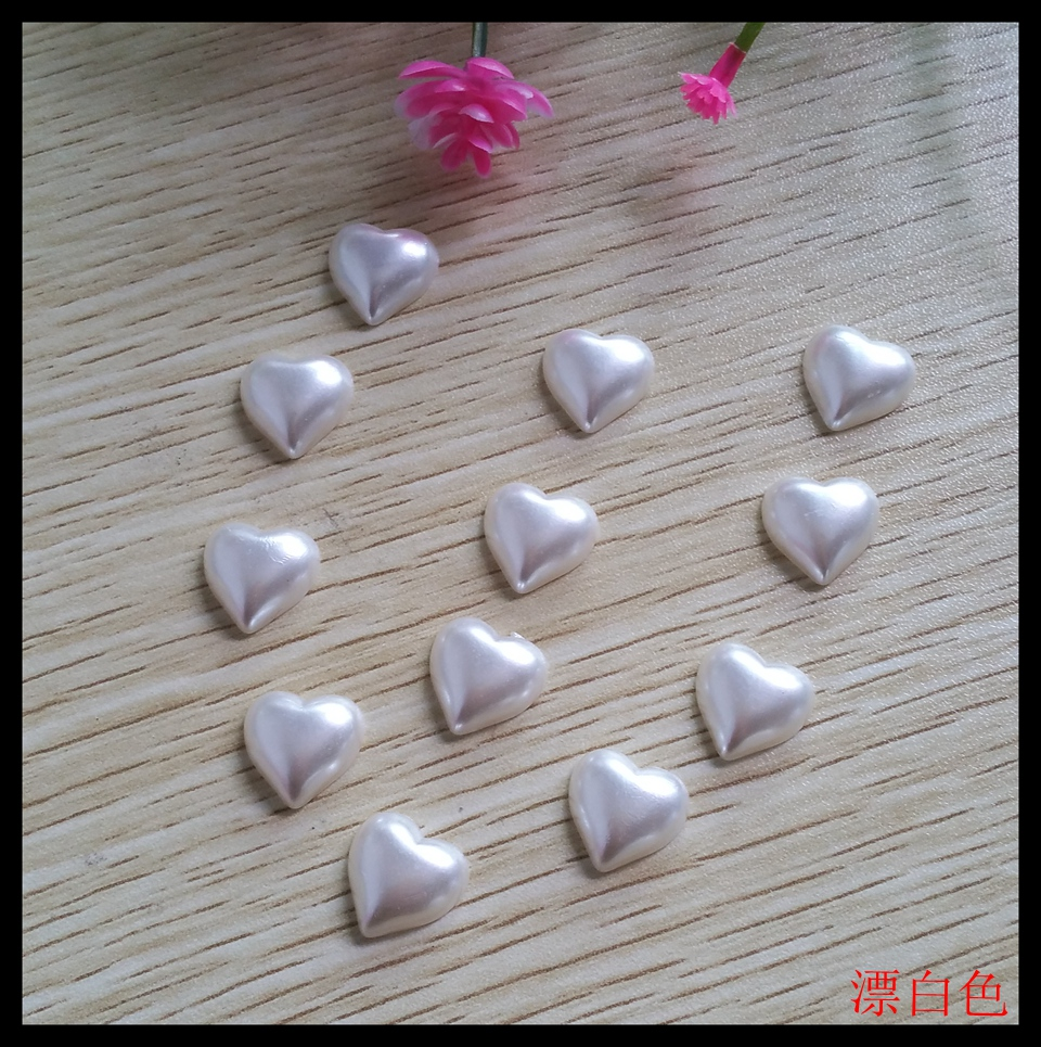 120pcs/lot 15*15MM Heart-shaped Decorative Nonporous Buttons For Craft Flatback Pearl bead Scrapbook supplies Accessories