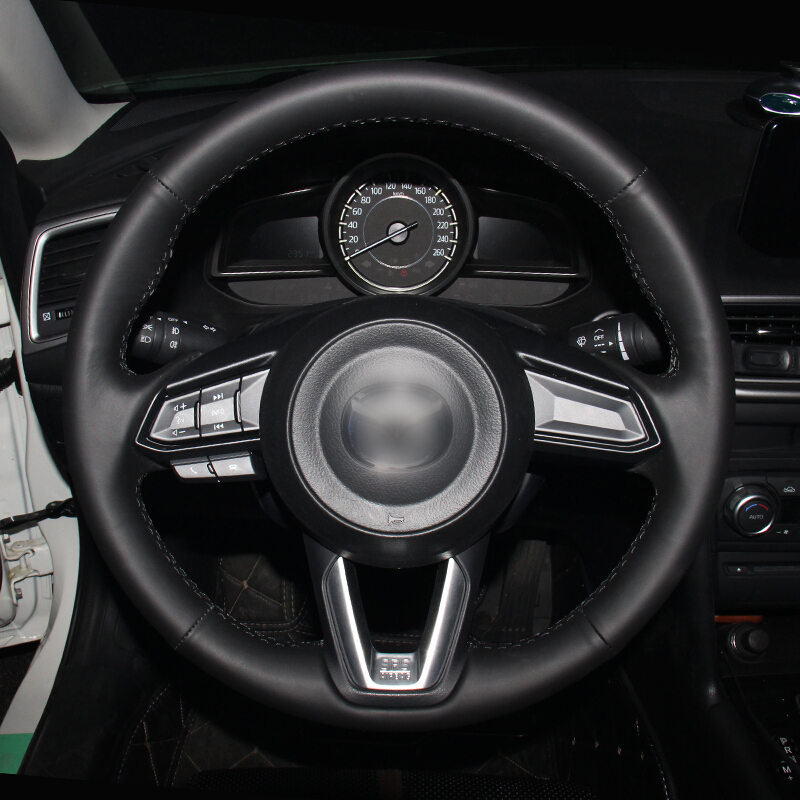 Hand Sew Black Genuine Leather Steering Wheel Cover for <font><b>Mazda</b></font> <font><b>3</b></font> <font><b>CX</b></font>-5 <font><b>2017</b></font> <font><b>Mazda</b></font> <font><b>CX</b></font>-9 2016 <font><b>2017</b></font> image
