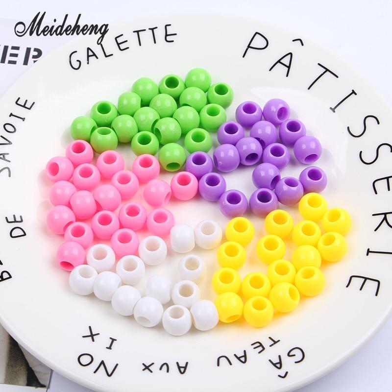 Meideheng Soild Acrylic big hole Round Beads For Jewelry Making DIY kandi Craft Accessories kinds toy 10mm hole5mm 50pcs/bag