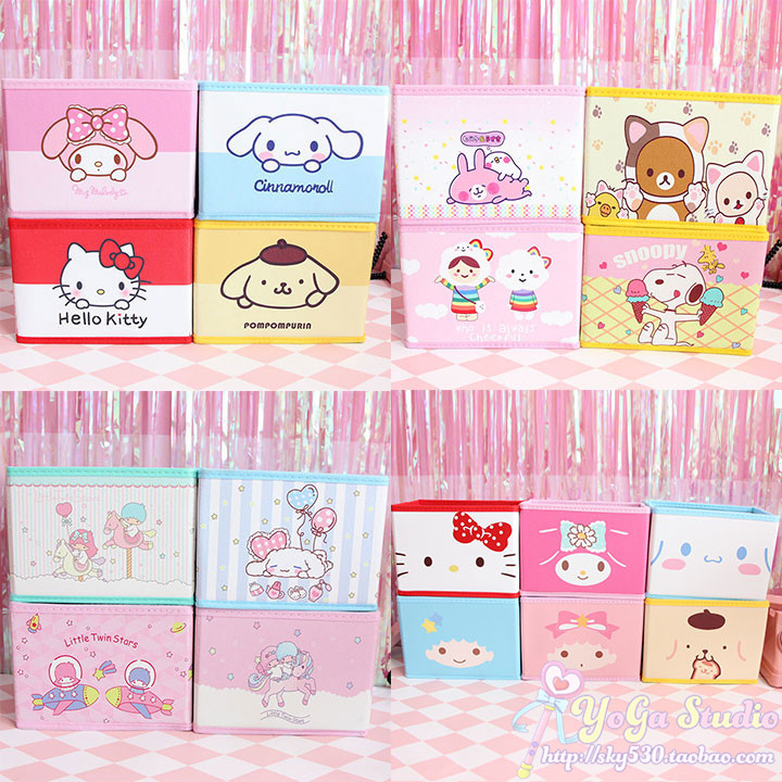 82d30c2772c Detail Feedback Questions about Cartoon Hello Kitty My Melody Cinnamoroll  Pudding Dog Little Twin Star Kanahei Cute Cosmetic Bags Toy Folding Storage  Box ...