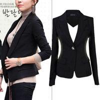 New Womens Lapel Suit One Button Tunic Long Sleeve Blazer Jacket Size S XXXL
