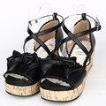 Hembra verano lolita cosplay zapatos de las mujeres zapatos de Plataforma de cuero plataforma gladiador sandalias con tacones de cuña