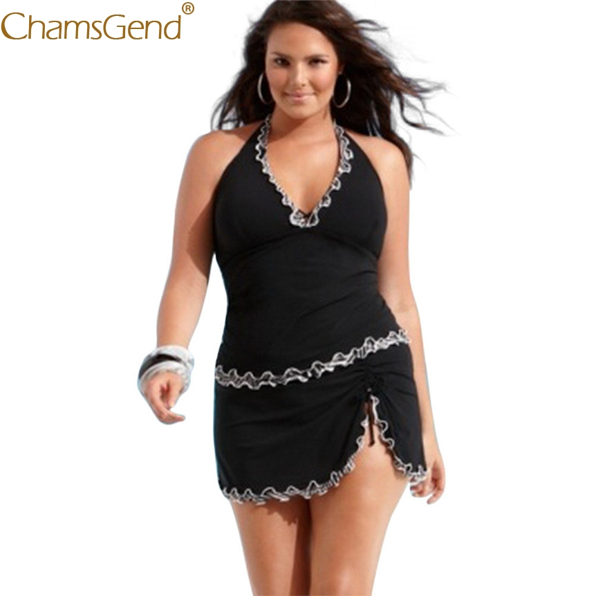 Free Shipping Plus Size Women Push-up Padded Dress Summer Black One-piece Halter Swimsuit Swimwear Tankini 80417
