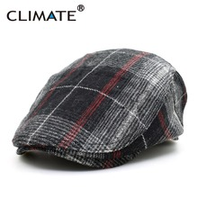 CLIMATE Winter Men Berets Cap Men Thicken Plaid Flat Cap Woo