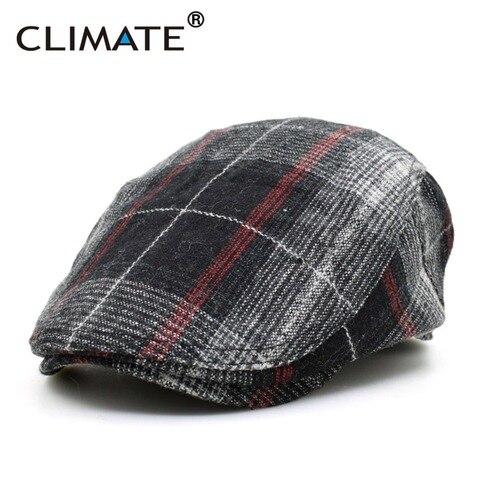 CLIMATE Winter Men Berets Cap Men Thicken Plaid Flat Cap Woolen Grid Warm Newsboy Tweed Gatby Painter Style Adult Men Cap Hat Pakistan