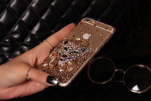 Fox ouro Leopard Bling Diamante Da Tampa Do Caso Para O Iphone X 8 7 6 Mais 5 5C 4 Samsung Galaxy Note 8 5 4 3 2 S8/7/6 Borda Mais S5/4/3