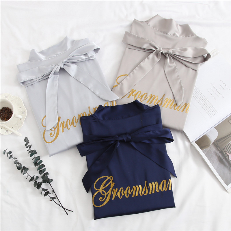 Groom&Groomsman Wedding Robes 2019 New Women Men Satin Sleepwear Bride&Bridesmaid Dressing Gown Casual Kimono Bathrobe L XL