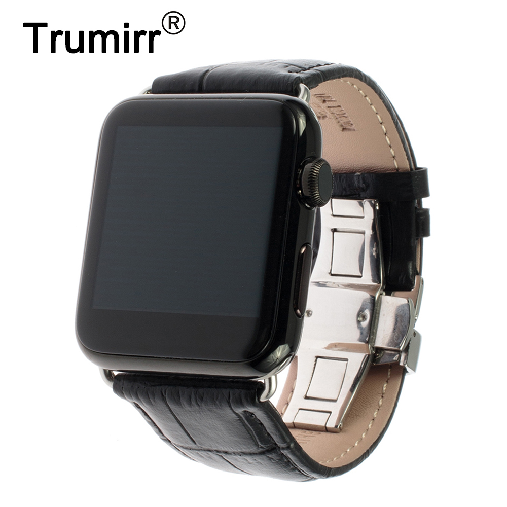 Calf Genuine Leather Watchband Butterfly Clasp for iWatch Apple Watch 38mm 42mm Replacement Band Strap Bracelet with Adapters