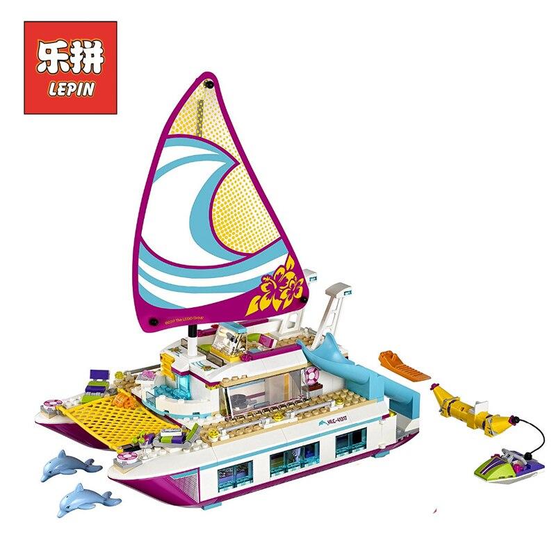 Лепин 01038 для девочек серии друзья милый лодка корабль строительные блоки Кирпич солнце катамаран модель комплект детская игрушка в подаро... ...