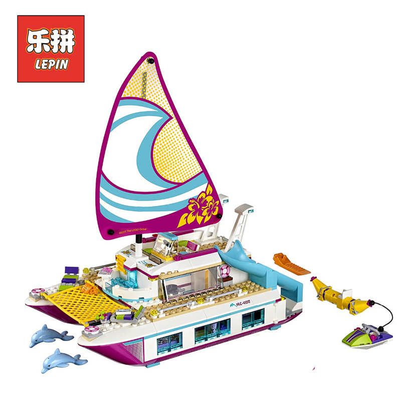 lepin 01038 Girl Series Friends Cute Boat Ship Building Blocks Brick Sunshine Catamaran Model Kit Set Children Toy Gift 41317