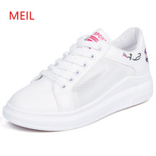 Platform Sneakers Women 2018 White Flat Shoes Breathable Woman Lace Up for Flats Mocassin Femme