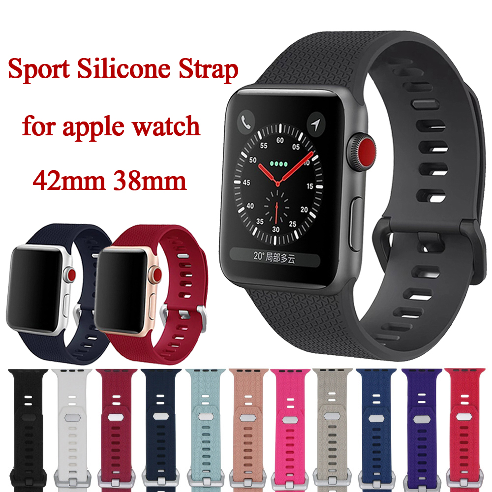 Band For Apple Watch Band 42mm 38mm iWatch 3 2 1 Sport Silicone Strap Wrist Watchband Metal Classic Buckle Belt Watch Strap jansin 22mm watchband for garmin fenix 5 easy fit silicone replacement band sports silicone wristband for forerunner 935 gps