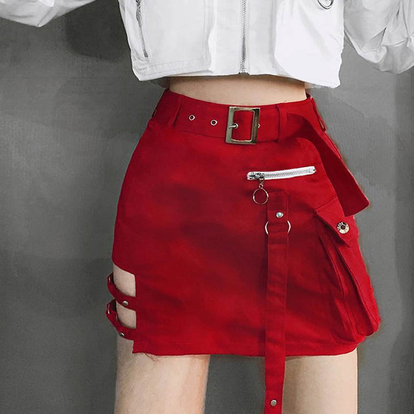 Fashion Hollow Out Skirts A-line Sashes Mini Skirt Punk Style High Wasit Women Skirt With Pocket Female Girls Lady Skirts