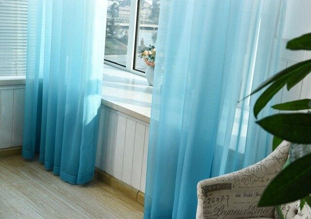 Sfumatura di colore Tulle Tende per la Cucina la Finestra del soggiorno Decorazioni tenda per camera da letto Divisore Sheer Voile cortina