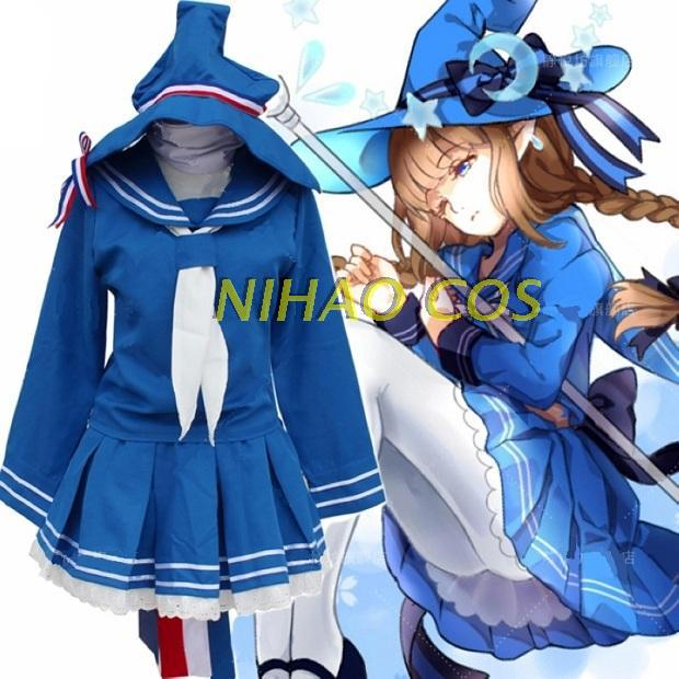 Wadanohara And The Great Blue Sea Blue Sailor Suit Uniform Skirt Cosplay Costume Free Shipping