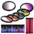 6 unids graduado color kit filtro de la lente para nikon d3100 d3200 d5100 dslr 52mm lf348