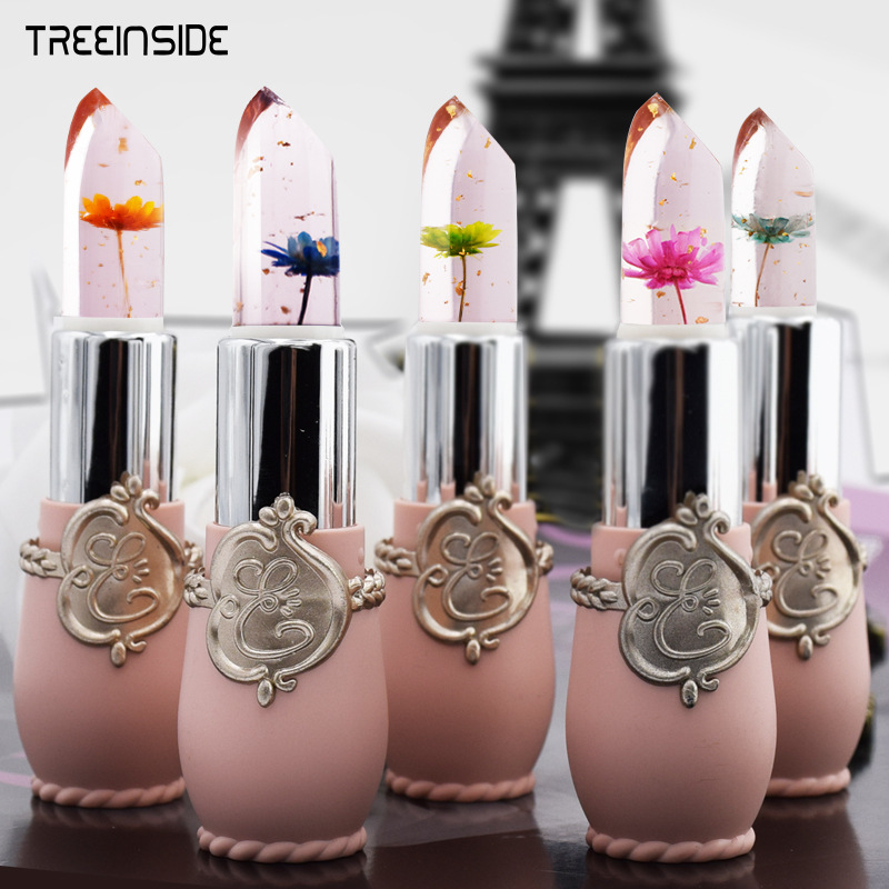 New Arrivals Waterproof Lip Stick Brand Cosmetics Long Lasting Temperature Color Change Jelly Lip Gloss with Flower 2