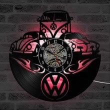 Wolksvagenโลโก้รถบันทึกไวนิลนาฬิกาแขวนกลวงสีดำสร้างสรรค์LEDนาฬิกาแขวนตกแต่งบ้านคลาสสิกแขวนนาฬิกาแขวน