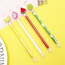 Cute Dragon Fruit Kiwi Watermelon Lemon Erasable Gel Pen Blue Ink 0.4mm Gel Pen Student Stationery Style Random(China)