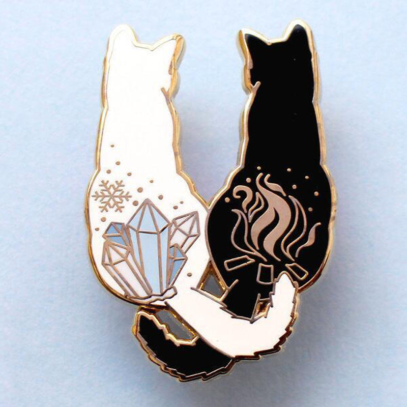 XEDZ explosion models hot black and white <font><b>cat</b></font> color stone tail flame snowflake metal enamel pin creative <font><b>shirt</b></font> brooch gift image