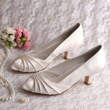 Wedopusขวดโหลที่กำหนดเองร้อนขายไอวอรี่แต่งงานรองเท้าส้นต่ำซาตินP Eep Toe