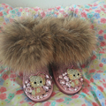 Free Shipping fox fur Handmade Rhinestone sequins crystal baby girl's bling bling 66 Snow Boots children Boots warm Winter Shoes