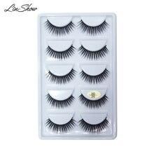 LinShow 5 Pairs 3D Silk Eyelashes Natural Long Crisscrooss False Hand Made Full Strip Eyelash Makeup Tools