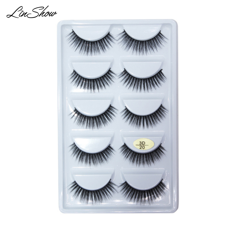LinShow 50 Pairs 3D Silk Eyelashes Natural Long Crisscrooss False False Eyelashes Hand Made Full Strip Eyelash Makeup Tools