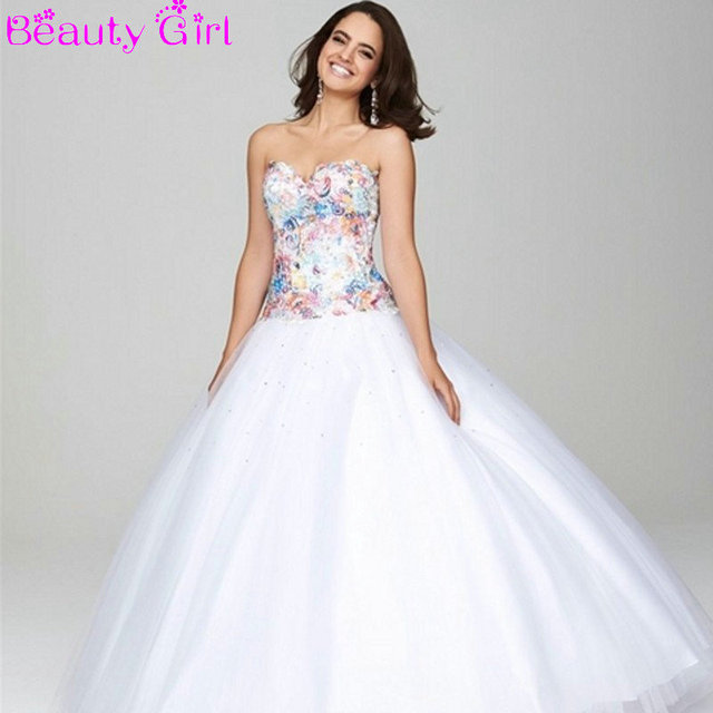 Color Lace Fresh White Ball Gowns Light Pink Prom Dresses Sweetheart ...