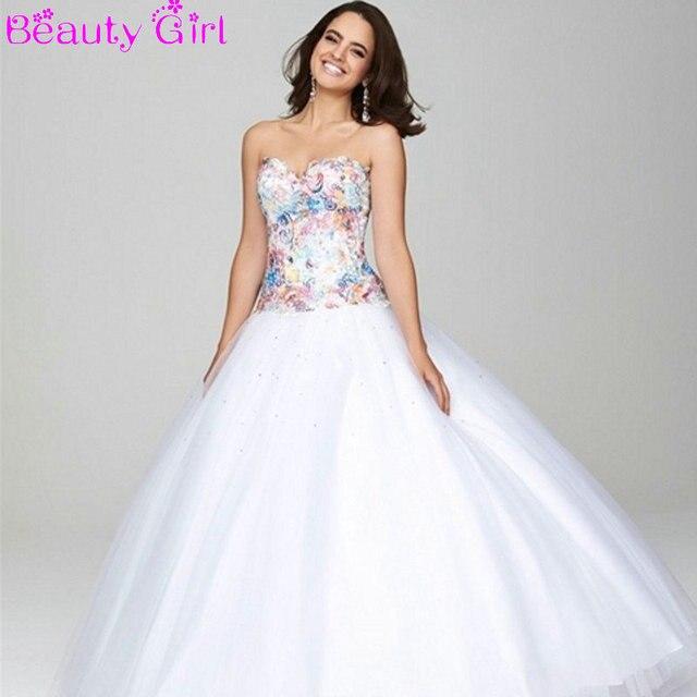 de encaje de color blanco fresco vestidos de bola light pink prom