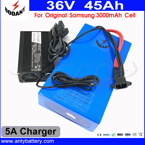 US EU Duty Free 1500W Electric Bicycle Battery 36V 45AH For Original Samsung 18650 Cell With 5A Charger 50A BMS Shipping Free us eu free customs duty lithium 48v 1000w e bike battery 48v 17ah for original panasonic 18650 cell with 5a charger 30a bms