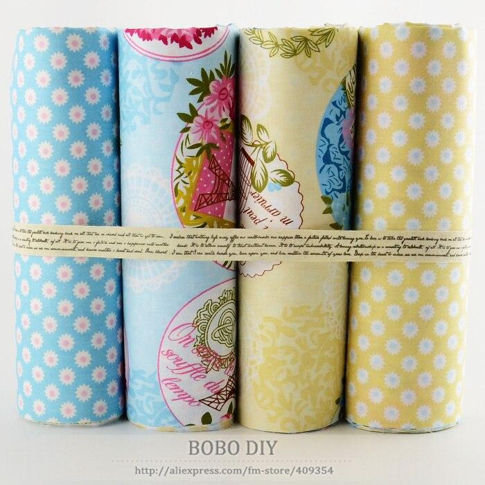 4 UNIDS Chic Torres y Flores de tela de algodón fat quarters acolchar tilda patc