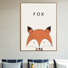 Lovely Animal Canvas Art Print Poster, Minimalist Wall Painting for Living Room Children Room Decor, Nordic Cartoon Fox nordic minimalist cute animal children s room canvas painting art print poster picture wall living room bedroom home decor