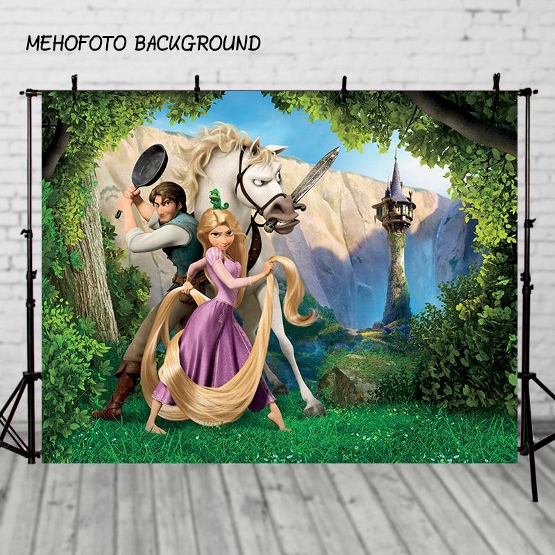 Birthday Party Backdrops Vinyl Photography Backdrop Cartoon Tangled Princesses Children Backdgrounds for Photo Studio vinyl cloth easter day children party photo background 5x7ft photography backdrops for party home decoation photo studio ge 064