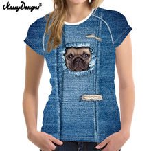 NoisyDesigns 2018 Newest t-shirt Women Pug Owl Prints Woman tshirt Harajuku Kawaii Tops Tees Blusa kawaii T Shirt Girls Crop Top(China)